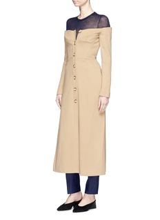 Gabriela Hearst Off-shoulder virgin wool-cashmere melton bustier coat