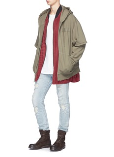 R13 Double layer zip hoodie