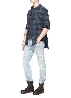 R13 Fringed check plaid flannel shirt