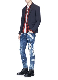 Dsquared2 'Tidy Biker' scribble print ripped skinny jeans