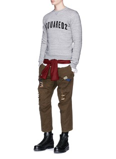 Dsquared2 Ripped patchwork cotton twill chinos