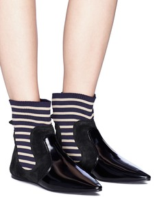 Acne Studios 'Amalee' rib knit panel suede ankle boots