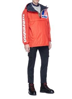 Dsquared2 x K-Way logo print reversible hooded windbreaker coat