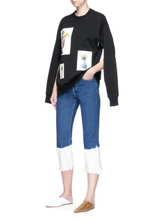 Ports 1961 Contrast frayed cuff cropped jeans