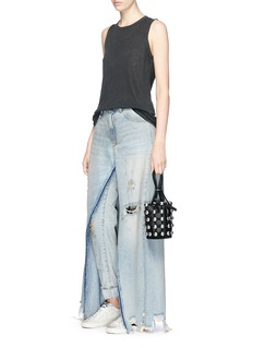 R13'Sashah' open inseam overlay ripped jeans