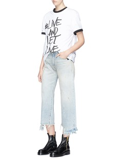 R13 'Camille' staggered cuff cropped selvedge jeans