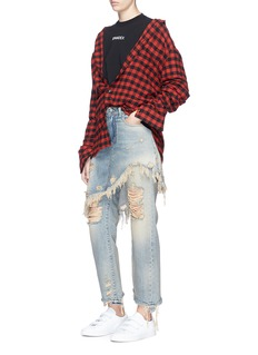 R13Skirt overlay ripped cropped jeans
