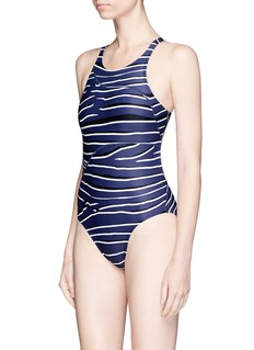 Adidas By Stella Mccartney Zebra print open back one-piece swimsuit