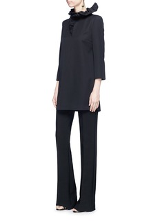 Lanvin Ruffle collar wool twill top