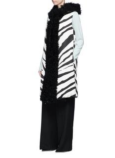 Lanvin Lamb fur trim zebra print sateen vest
