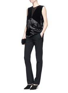 Lanvin Velvet and satin patchwork sleeveless top