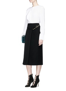 Lanvin Leather strap cady wrap skirt