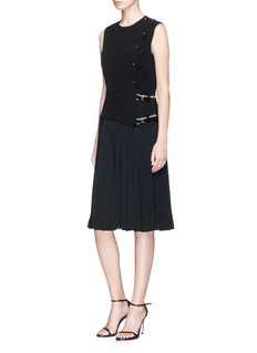 Lanvin Pleated buckled wrap dress