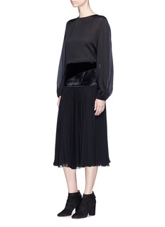 Lanvin Velvet and satin panel pleated chiffon skirt
