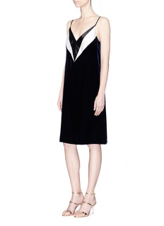 Lanvin Colourblock satin V-neck velvet slip dress