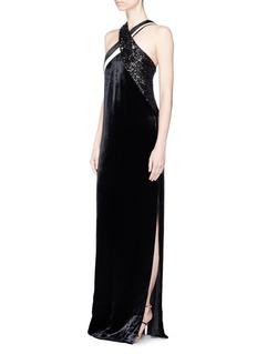Lanvin Sequin halterneck velvet gown