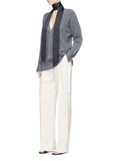 Lanvin Satin trim pleated crepe pants