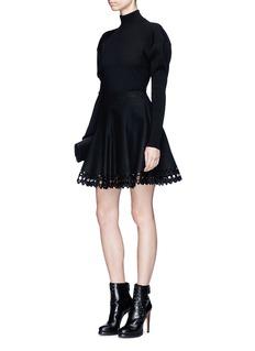 Alaïa 'Vienne' lasercut virgin wool-cashmere melton flared skirt
