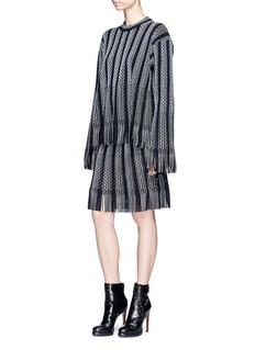 Alaïa 'Gladiator' perforated fringed hem oversized sweater