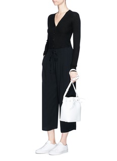 Vince Drawstring waist pleated cropped crepe pants