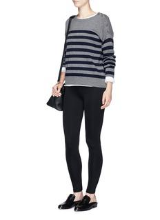 VinceButton shoulder stripe cashmere sweater