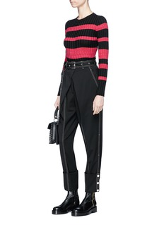 Proenza Schouler Contrast stitch belted wool twill pants