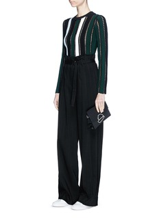 Proenza Schouler Stripe ottoman and pointelle knit cropped sweater