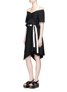 Proenza Schouler Belted asymmetric tweed skirt
