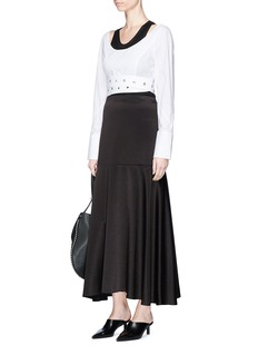 Proenza Schouler Embellished sash belt cropped cotton poplin top