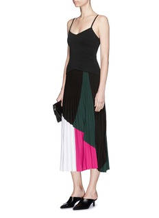Proenza Schouler Colourblock ottoman and pleated stitch knit dress