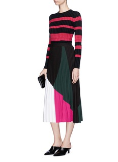Proenza Schouler Colourblock pleated stitch knit skirt