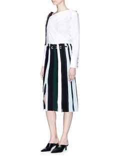Proenza Schouler Drawstring waist stripe ottoman and pointelle knit skirt