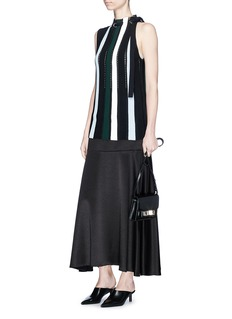 Proenza Schouler Drawstring neck stripe ottoman and pointelle knit top