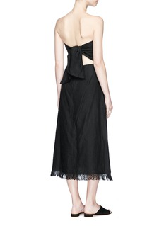 Theory 'Phyly' tie back fringed linen strapless dress