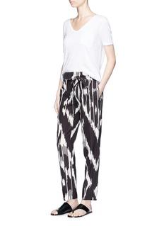 Theory'Gunilla' ikat print paperbag waist belted silk pants