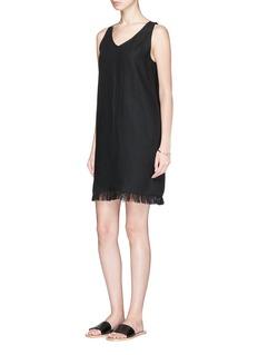 Theory 'Oekel' fringed linen sleeveless shift dress