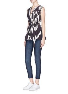 Theory'Desza' ikat print belted silk sleeveless top