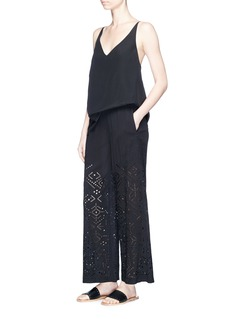 Theory 'Alkes' cutwork embroidery crepe wide leg pants