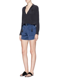 Theory 'Vasilica' belted silk satin shorts