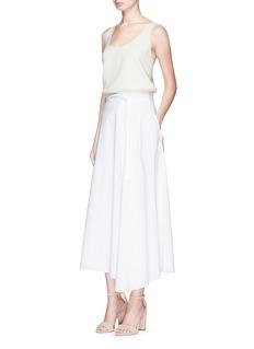 Theory'Jaberdina' belted asymmetric poplin skirt