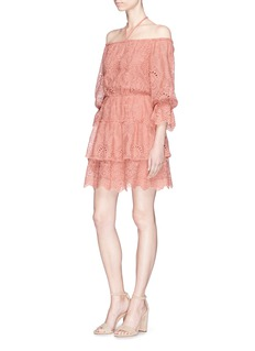 alice + olivia 'Wayon' floral broderie anglaise off-shoulder dress