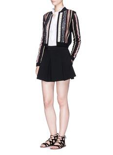 alice + olivia 'Kody' ethnic ribbon lace trim cardigan