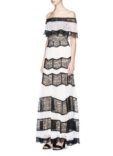 alice + olivia 'Anika' colourblock floral guipure lace dress