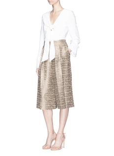 alice + olivia 'Rocco' high waist metallic tweed culottes