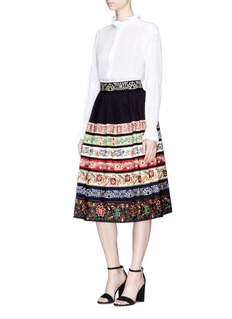 alice + olivia 'Birdie' floral embroidered skirt