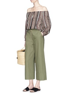 alice + olivia'Saydee' lace trim off-shoulder peasant blouse