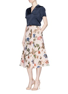 alice + olivia 'Fila' floral embroidered bell skirt