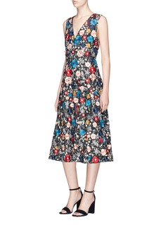 alice + olivia 'Nicolette' embellished floral and bird guipure lace gown