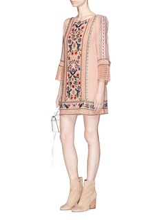alice + olivia 'Gabriel' floral embroidered crochet lace panel tunic dress