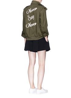 alice + olivia'Marvis' slogan embroidered cargo jacket